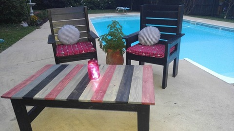 Handcrafted Custom Outdoor Patio Set - Alabama Roll Tide